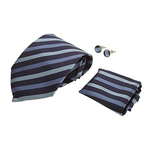 Pierre Roche - Conjunto de corbata, gemelos y pañuelo para hombre