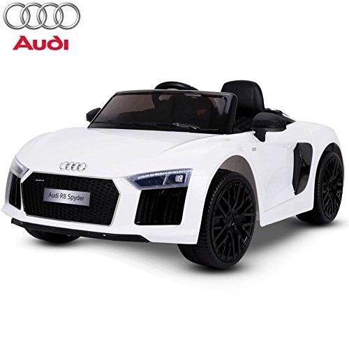 BAKAJI Auto Elettrica per Bambini 12V Audi R8 Spyder Bianca Baby Car con Luci Suoni Comando Manuale velocità 3-5 Km/h Telecomando Parentale