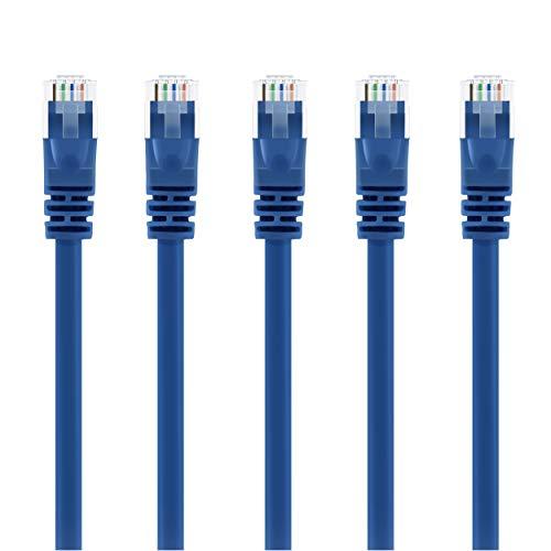 GearIT 50-Pack, Cat5e Cable de conexión Ethernet 1,5pies–5E RJ45cable de red LAN para computadora, Azul–Compatible con Conmutador de 48puertos PoE Gigabit de montaje en rack azul 10 feet (5-Pack)