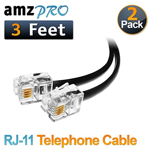 (2 Pack) 3 Feet Black Short Telephone Cable Rj11 Male to Male 36 inch Phone Line Cord