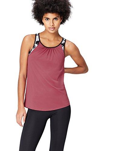 Activewear Camiseta de Deporte Mujer, Morado (Damson/glass Print), 42 (Talla del Fabricante: Large)