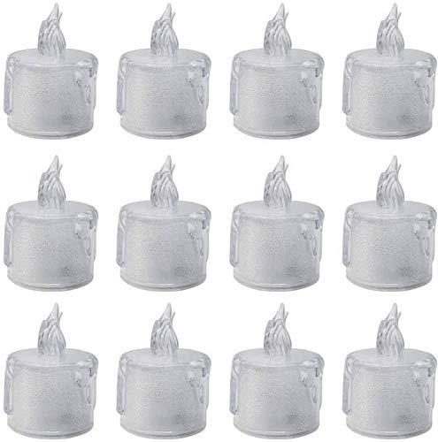 LEIKAS Velas Falsas realistas y Brillantes cálidas para la decoración del cumpleaños de la Boda de la Fiesta, Paquete de 12 Velas parpadeantes sin Llama Que Funcionan con Pilas