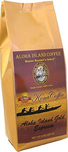 100% Pure Kona Coffee, Aloha Island Brand ESPRESSO Very Dark Roast, Smooth, Low Acid Pure Kona in a Very Robust, Rich Espresso Roast Profile, 8 Oz Ground (Drip Grind)