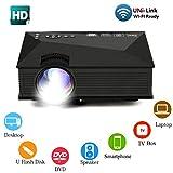 Lbellay Pico Projecteur LCD Portable Cinéma Maison Full HD 1080p Haut-parleurs...