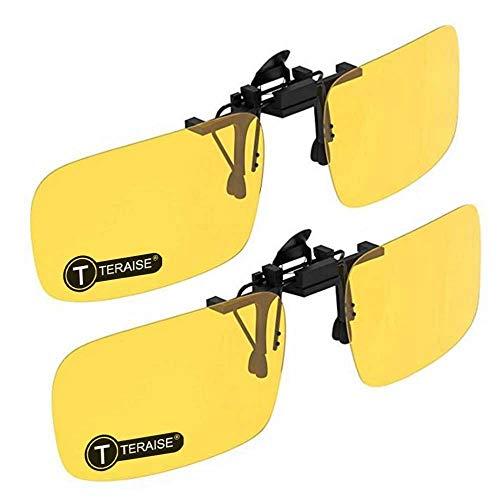 TERAISE Clip-on zonnebril, 2-pack/dag + nachtzicht Heren/Dames UV400 opklapbare gepolariseerde zonnebril, Handige en veilige pasvorm over brillen op sterkte Ideaal voor autorijden en buiten/vissen