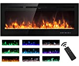 Electric Fireplace Touch Screen Glass Panel Colorful Flame Insert Wall Mounted Heater Remote Control with Crystal&Log Set,900/1800W (102CM, Black)