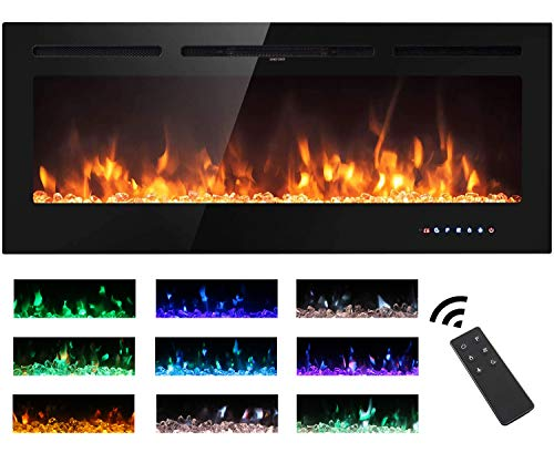 Electric Fireplace Touch Screen Glass Panel Colorful Flame Insert Wall Mounted Heater Remote Control...