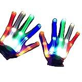 Ulapithi Guantes de esqueleto con luces LED parpadeantes para niños, adultos,...