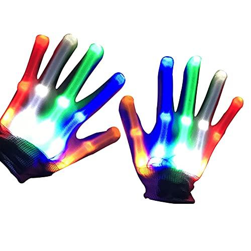 ZHIYA Guantes con Flash LED, Guantes De Esqueleto con LED Parpadeantes, Juguetes con Luz para Los Dedos para Nios, Guantes para Fiestas Nocturnas con Temtica De Halloween, Festivales