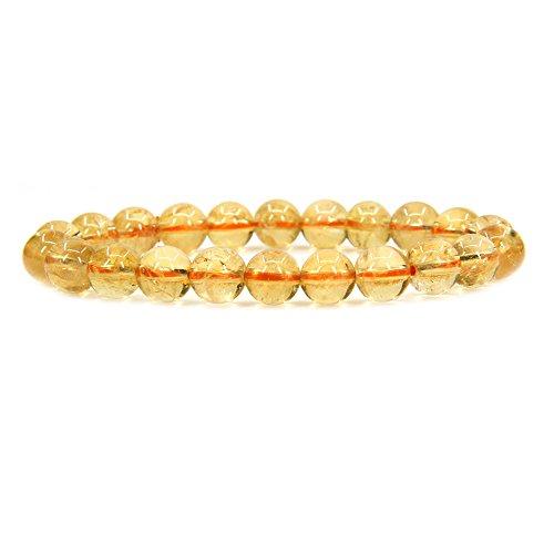 Natural AA Citrine Gemstone 8mm Round Beads Stretch Bracelet 7' Unisex