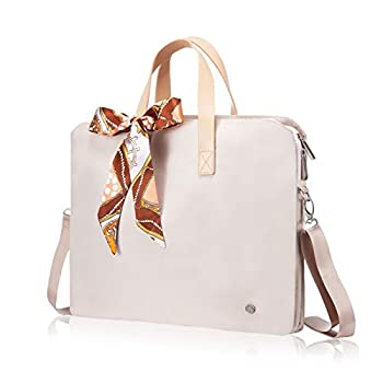 Kamlui Laptop Bag 14-15.6 inch for Women Carrying Computer Sleeves Case Waterproof Canvas Shoulder Messenger PU Tote Business Office Briefcase Laptop Bag for Macbook Pro Air HP Lenovo Dell Khaki …