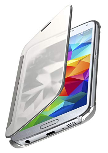 MoEx® Dünne 360° Handyhülle passend für Samsung Galaxy S5 | Transparent bei eingeschaltetem Display - in Hochglanz Klavierlack Optik, Silber