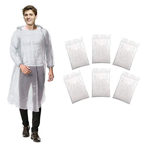 ADSSM 6er einweg Regenmantel, Regenponcho mit Kaputze, Regenmäntel für Outdoor Aktivitäten, Geeignet für Damen, Herren, Transparent, Einheitsgröße