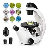 HWUKONG Microscopio Biológico, Microscopio Invertido 40X-320X Utiliza En Observación De Vida Muestras O Tejidos Y para Su Visionado Conjunto Experimento De Ciencia Acuática Especímenes