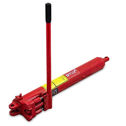BITUXX® Hydraulik Zylinder mit Doppel Hub Pumpe Teleskopzylinder 8 Tonnen 8T bis 115cm Hub Rot