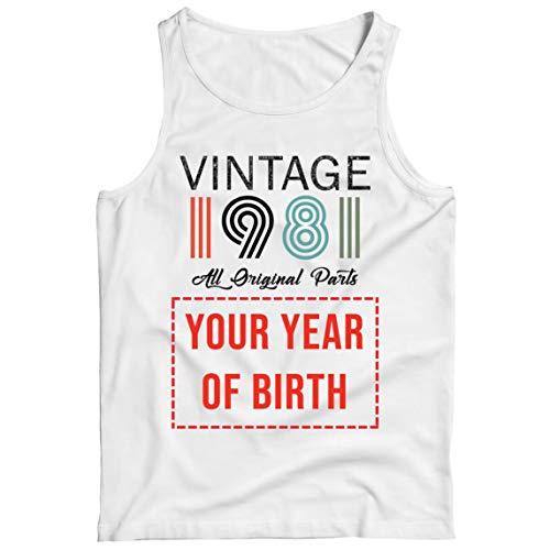 lepni.me Camisetas de Tirantes para Hombre Personalizado con Cualquier Año Regalo Vintage Todas Las Piezas Originales (XXX-Large Blanco Multicolor)