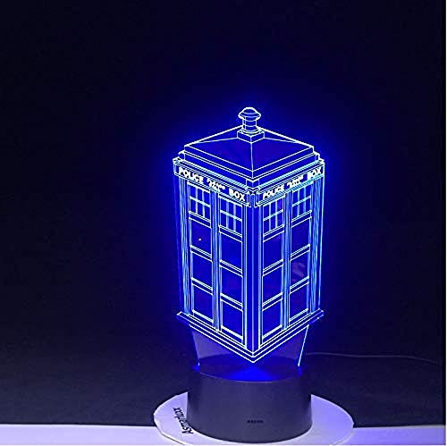 3D Led Night Light 7 colores Cambio de lámpara Doctor Who Police Box Lámpara Acrílico USB Lámpara de mesa Luces Multicolor Bulbing Light Kid Drop Gift