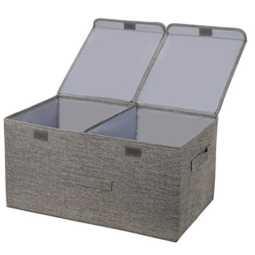 leehui store Large Cube Storage Boxes with Lids Foldable Fabric Storage Box with Handles 40L Organiser Bathroom Storage Baskets for Clothes Toys Books Bedding or More (Grey)