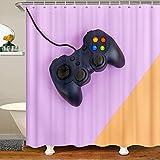 Cortina de ducha de tela de Gamepad para niños, niñas, adolescentes, juegos, baño con ganchos, cortinas geométricas, color morado, naranja, 177 x 201 cm