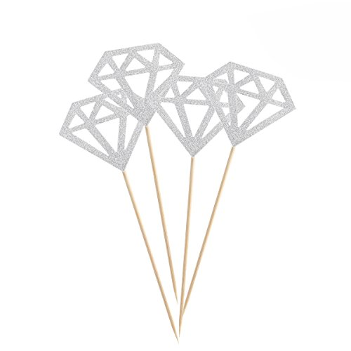 ULTNICE Diamond Cake Topper Cupcake Picks Wedding Party Decoration 50pcs (Glitter Silver)