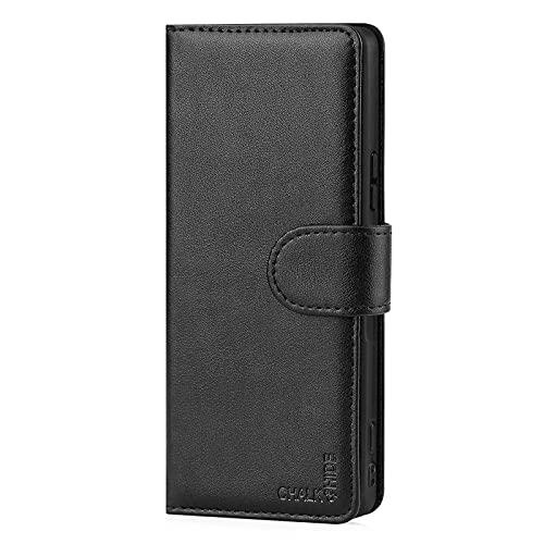 Chalk und Hide - Lederhülle Hülle Cover für Sony Xperia 1 III (2021), Echtleder Hülle Entwurf gemacht Mit Kartensteckplatz, Magnetisch & Standfuß - Schwarz