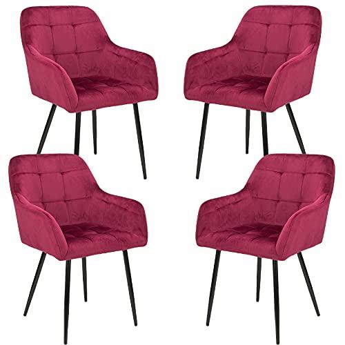 sillas de Comedor Set de 4 Terciopelo de Cocina Moderna de Mediados de Siglo tapizadas para salón,cómodas sillas para Dormitorio (Red, 4)