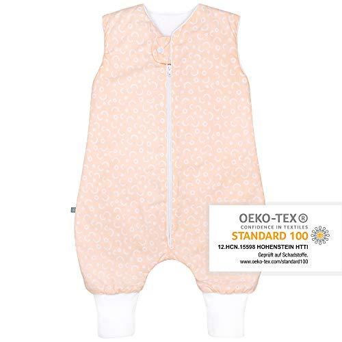 Premium Baby Schlafsack mit Füßen Ganzjahr, Größe: 110cm (98/110), Bequem & Atmungsaktiv, 100% Bio-Baumwolle, OEKO-TEX Zertifiziert, Flauschig, Bewegungsfreiheit, 2.5 TOG, Punkte Peach von emma & noah