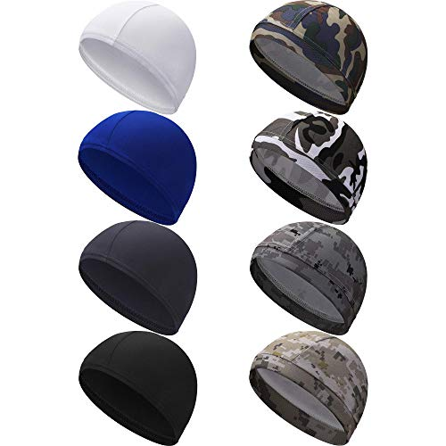 8 Pieces Cycling Beanie Caps Helmet Liner Hats Sweat Wicking Hats for Men...