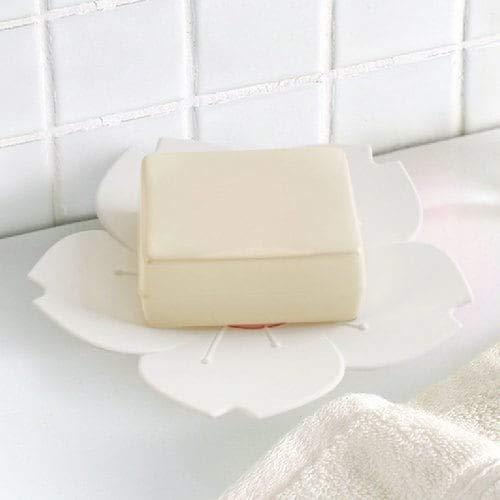 WZhen Porte-Savon Sakura/Boîte Anti-Dérapant Bas Deux Couche Drain-Blanc