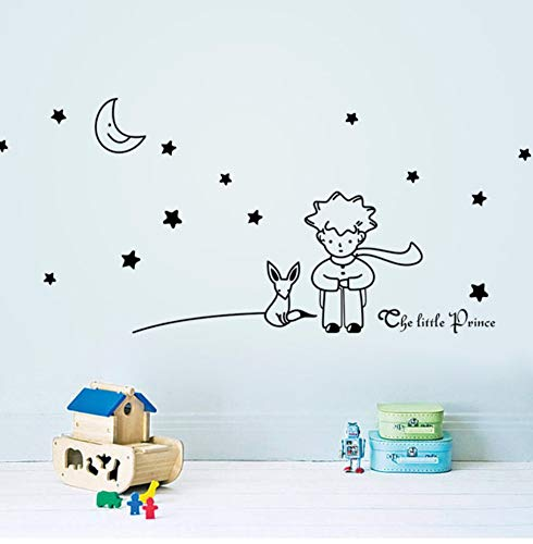 Zjxxm Newest Design Little Prince With Fox Moon Star Home Decor Wall Sticker/Lovely Romantic Kids Room Decal/Gift For Child Friend