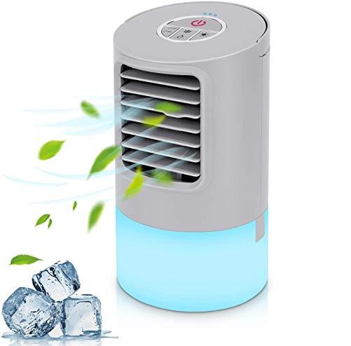 Mini Condizionatore Portatile Raffrescatore Evaporativo Umidificatore Purificatore Raffreddatore D'aria Climatizzatore Air Cooler con Raffreddamento per Casa/Ufficio/Camper 3 Velocità 2/4H Timer