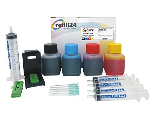 Kit de Recarga para Cartuchos de Tinta HP 62, 62 XL Negro y Color, Incluye Clip y Accesorios + 200 ML Tinta