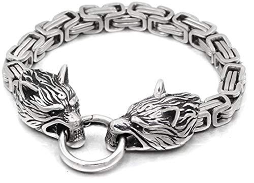 Viking Wolf Kopf Armband Männer | Edelstahl Königskette | Silber Bicolor Geschenktasche | STEAMPUNK | 21cm 23cm 25cm (Silver, 21)