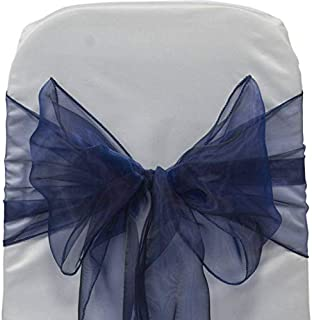 mds Pack of 250 Organza Chair Sashes/Bows sash for Wedding or Events Banquet Decor Chair Bow sash -Navy Blue