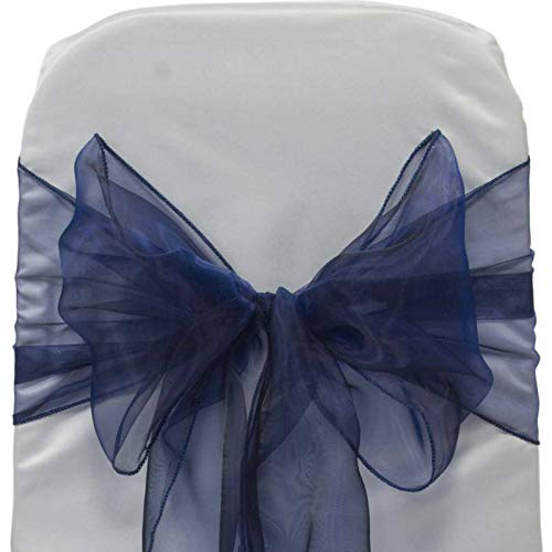 mds Pack of 25 Organza Chair sash Bow Sashes for Wedding and Events Supplies Party Decoration Chair Cover sash -Navy Blue