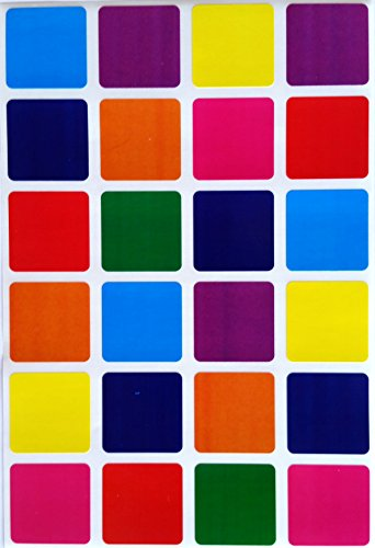 Square Color Coding Labels 1 inch by 1 inch- 8 Colors Stickers - Blue, Dark Blue, Red, Purple, Green, Orange, Pink and Yellow- Multi Pack - Classic Colors semi-Gloss 240 Pack