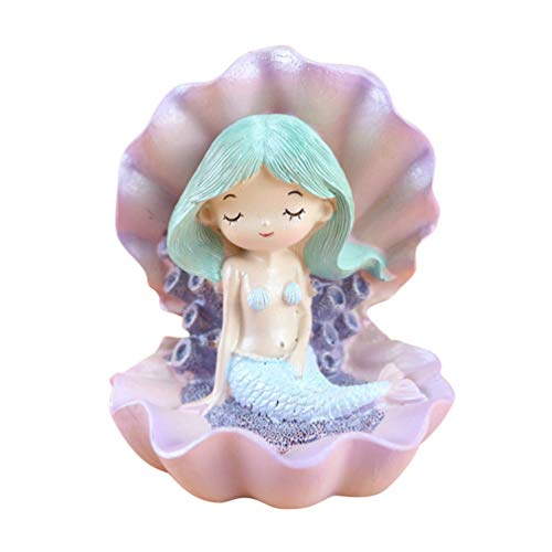 Amosfun Mermaid Sitting On Oyster Shell Figurine Mermaid Baby Sculpture Doll Cake Topper Car Home Office Decor