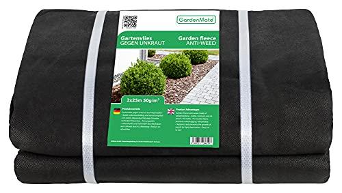 GardenMate 2mx25m Malla geotextil 50 g/m² - Geotextil para jardín - Estabilizada contra UV - 2mx25m=50m²
