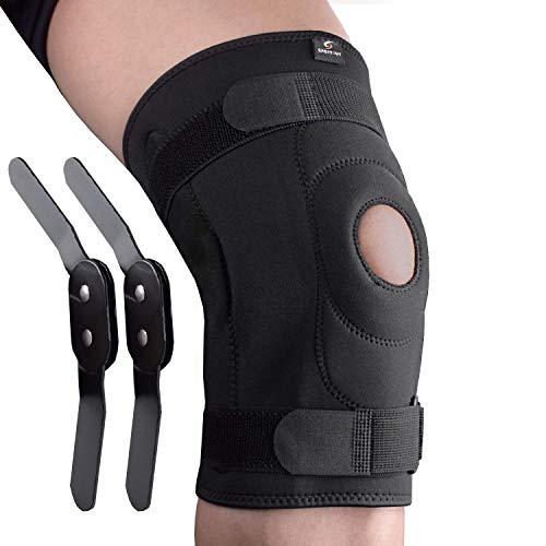 Sportout Knee Brace Support,Removable Aluminum Hinges Knee Brace Perfect for Meniscus Tear, ACL, Strains, Knee Pain, Arthritis,Men,Women (M)