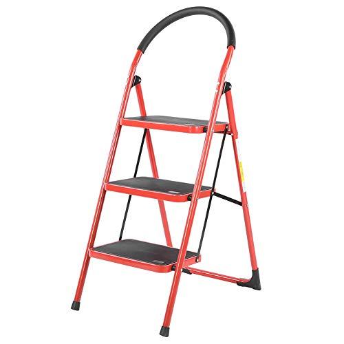 Taburete escalera, escalera plegable con planta ancha Ladders de hierro + goma para casa y oficina, 2 o 3 peldaños (rojo 3 peldaños)