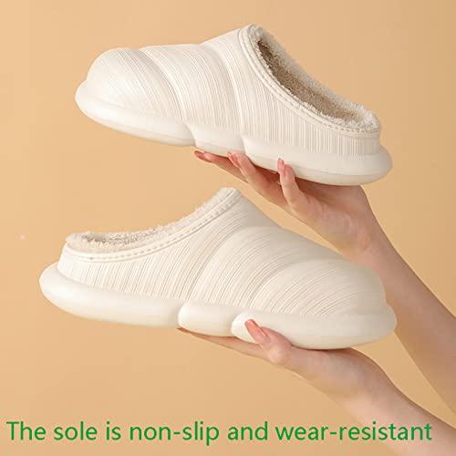 QAZW Hombres Mujeres Invierno Cálido Zapatillas De Felpa Homewear Zapatillas Zapatillas Suela Suave Mujer Zapato Interior Parejas Casa Zapatilla Espuma De Memoria Zapatillas Mullidas,Blue-42 EU