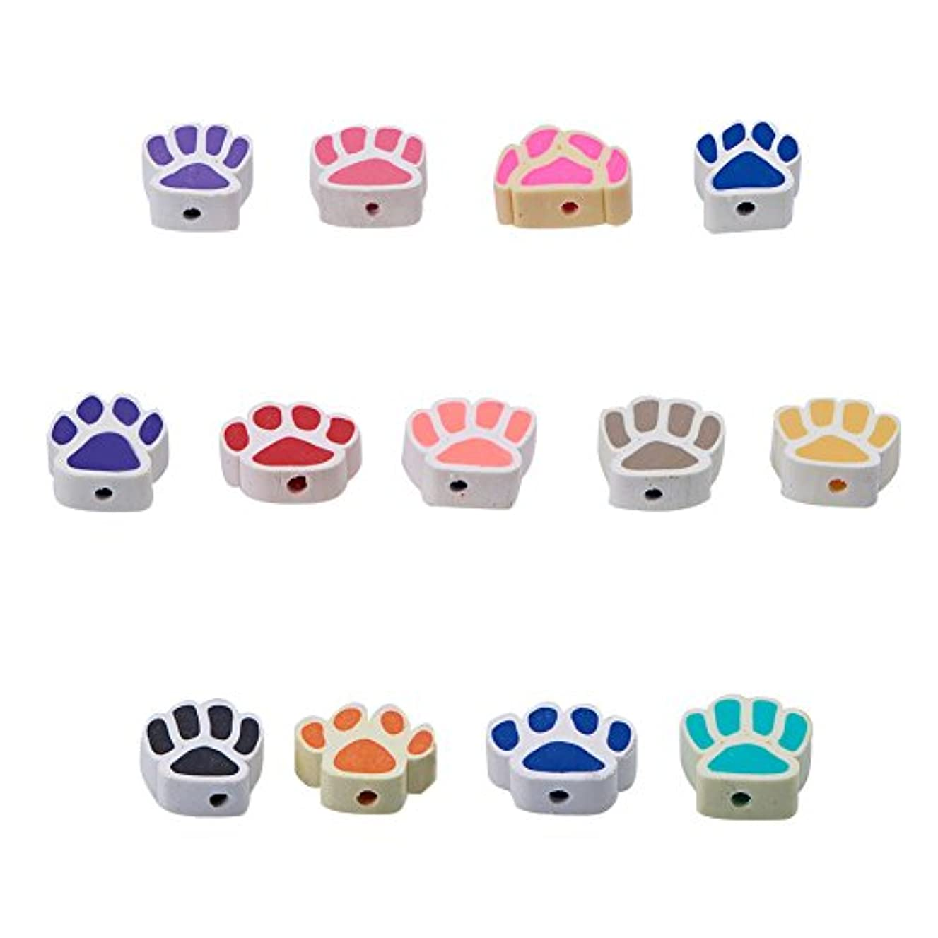 NBEADS 300PCS Handmade Polymer Clay Beads, Dog Paw Prints Loose Beads Spacer Beads for Bracelet Jewelry Making Findings