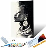 Vfvozr DIY Pintura por números Adultos Retrato de Mujer Africana Pintados a Mano Kit de Pintura al óleo sobre Lienzo Regalo para Mujeres mamá Hija 40x50cm Sin Marco