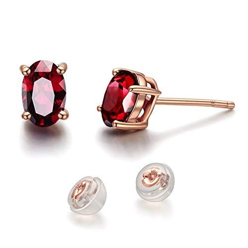 Beydodo Pendientes Oro Rosa Mujer,Pendientes Oro Rosa 18k Oval con Granate Rojo 3.2ct