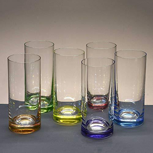 Juego 6 Vasos Altos de Cristal para Whisky o Agua - 6 Colores - colección Classic.