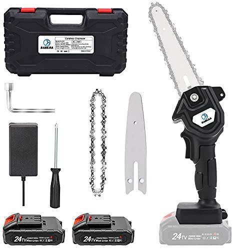BABEJIA 24VF Motosierra Bateria, Motosierra Eléctrica Portátil de 6 pulgadas para Podar Árboles/Corte de Madera, con Adaptador de Corriente Certificado (2 Baterías y Caja)