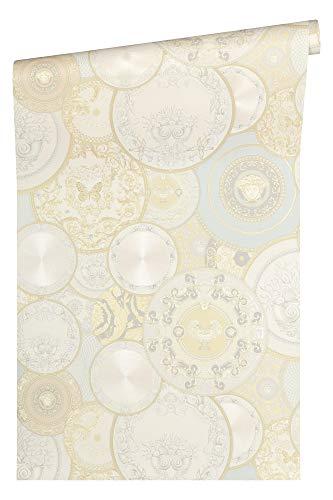 Versace wallpaper vliesbehang Les Etoiles de la Mer 2 luxe behang Natuur 10,05 m (Länge) x 0,70 m (Breite) crème, metallic, wit.