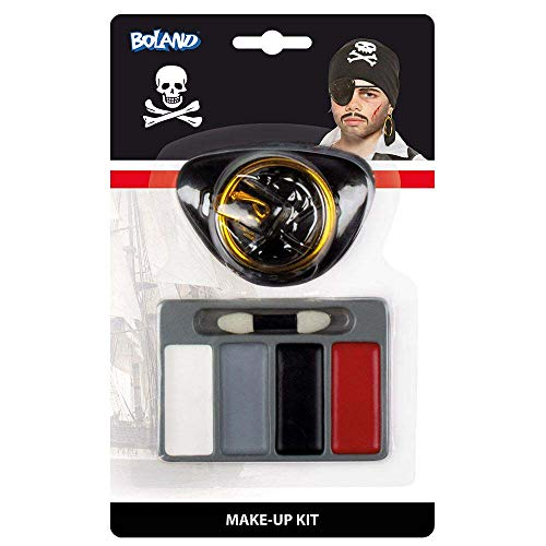 Boland 45045 - Schminkset Pirat, Make Up, Rot, Schwarz, Grau, Weiß, Applikator, Augenklappe,...