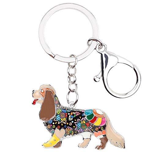 LZHLMCL Women Keyrings Keychains Enamel Dog Key Chain Keychains Ring Handbag Bag Charms Gift Fashion Jewelry For Women Girls Brown