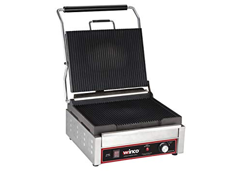 Winco EPG-1C, 14 X 16-Inch Single Surface Electric Panini Grill, 120V~60Hz, 1800W, 15A, NSF, Sandwich Press, Panini Maker, Panini Press